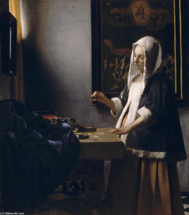 Mulher segurando uma balança, óleo sobre tela por Jan ...