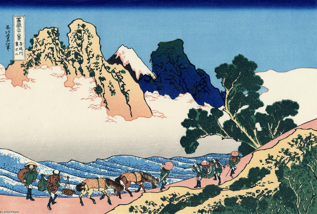 As costas do Fuji do Minobu rio por Katsushika Hokusai (1760-1849, Japan)