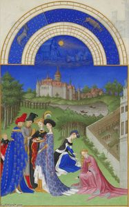 Limbourg Brothers - Abril: Figuras Courtly no castelo Grounds