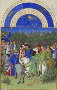 Limbourg Brothers - Fac-símile de maio: Figuras Courtly a cavalo
