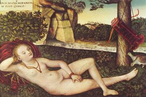 Lucas Cranach The Elder - Encostado Diana