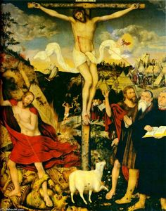 Lucas Cranach The Elder - Cristo como Salvador com Martin Luther