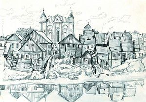 Mstislav Dobuzhinsky - Kedainiai . Vista of o city .