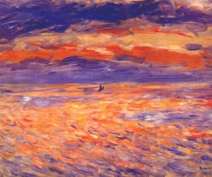 Pierre-Auguste Renoir - pôr do sol na mar