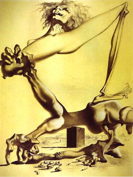 Pressentimento da civil A guerra, carvão vegetal por Salvador Dali (1938-3183, Spain)
