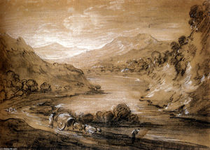 Thomas Gainsborough - Paisagem montanhosa com carreta e as figuras