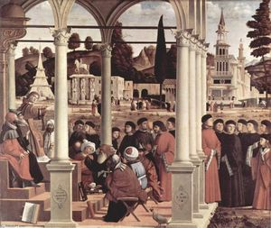 Vittore Carpaccio - Debate of Primeiro . Stephen
