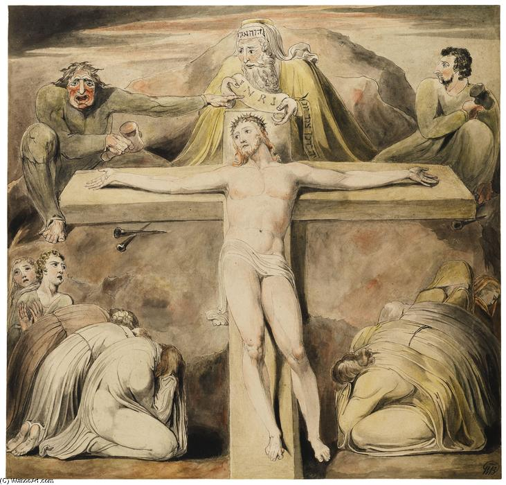 Cristo pregado na cruz a terceira hora, caneta por William Blake (1757-1827, United Kingdom)