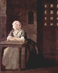 William Hogarth - Retrato de Sarah Macholm na prisão