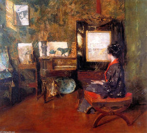 William Merritt Chase - Alice em estúdio em shinnecock Long Ilha Sol