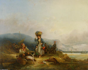 William Shayer Senior - Pescadores e as suas capturas by the Sea
