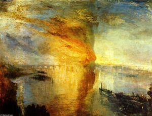 William Turner - a queima dos  o  Moradias  dos  parlamento