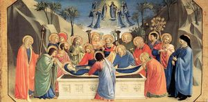 Fra Angelico - o enterro of a virgem e a recepção of sua alma no paraíso