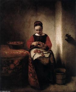 Nicolaes Maes - Young mulher de peeling Apples