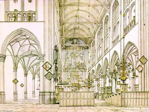 Pieter Jansz Saenredam - Interior of o Church polegadas Alkmaar
