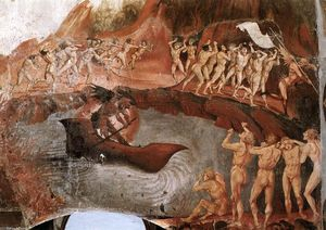 Luca Signorelli - The Damned ser mergulhado no inferno (detalhe)