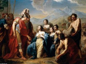 Johann Friedrich August Tischbein - o rainha of Seba Ajoelhando-se diante King Solomon