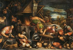 Francesco Bassano The Younger - A forja de Vulcan