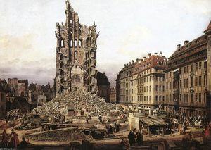 Bernardo Bellotto - as ruínas do old kreuzkirche em dresden