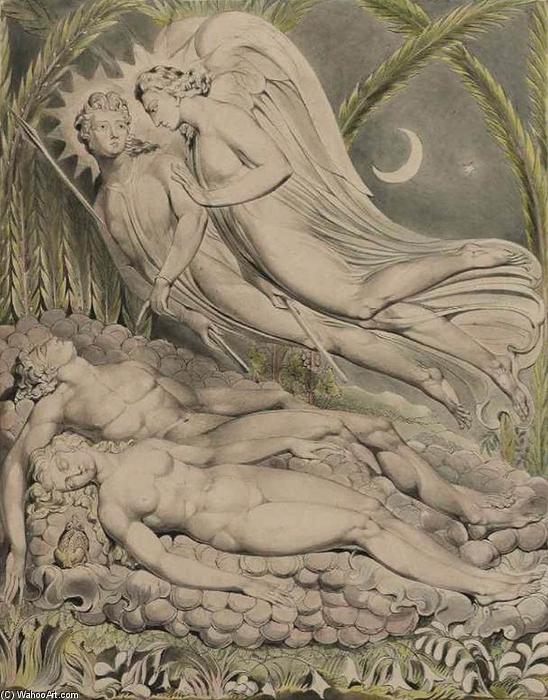 Adão e Eva do sono, 1808 por William Blake (1757-1827, United Kingdom) | Cópias Da Arte Na Tela | WahooArt.com