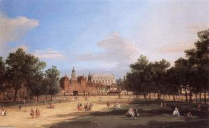 Giovanni Antonio Canal (Canaletto) - Londres: o Old Horse Guards e Banqueting Hall, do Parque de St James