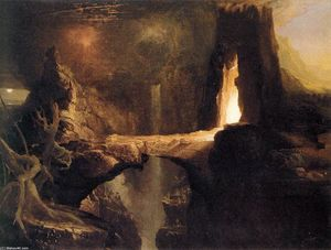 Thomas Cole - Expulsão, Lua e Firelight