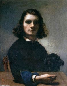 Gustave Courbet - Auto-Retrato (Courbet com Black Dog)