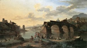Jacob De Heusch - River View com a Ponte Rotto