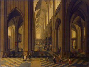 Peeter Neeffs The Younger - Interior of a Antwerp Catedral