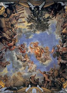 Pietro Da Cortona - Teto fresco com Medici coat-of-arms