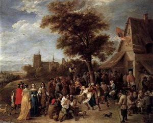 David The Younger Teniers - Camponeses Feliz tomada