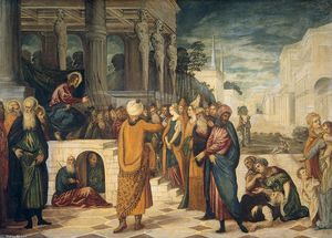 Tintoretto (Jacopo Comin) - Cristo eo Adulteress