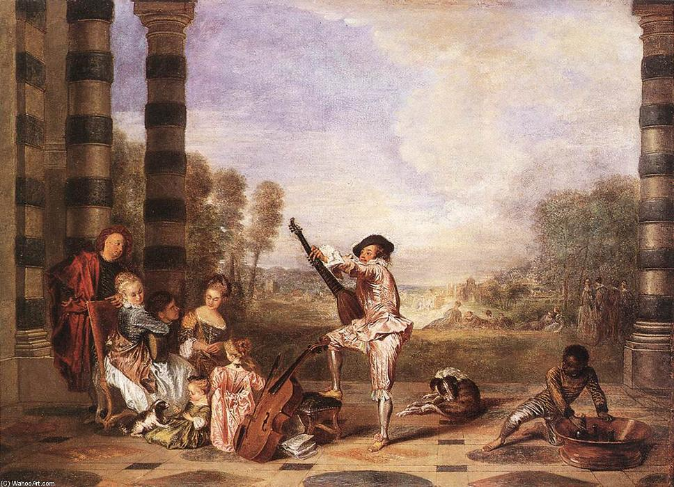 Les Charmes de la Vie (The Party Music), óleo sobre tela por Jean Antoine Watteau (1684-1721, France)