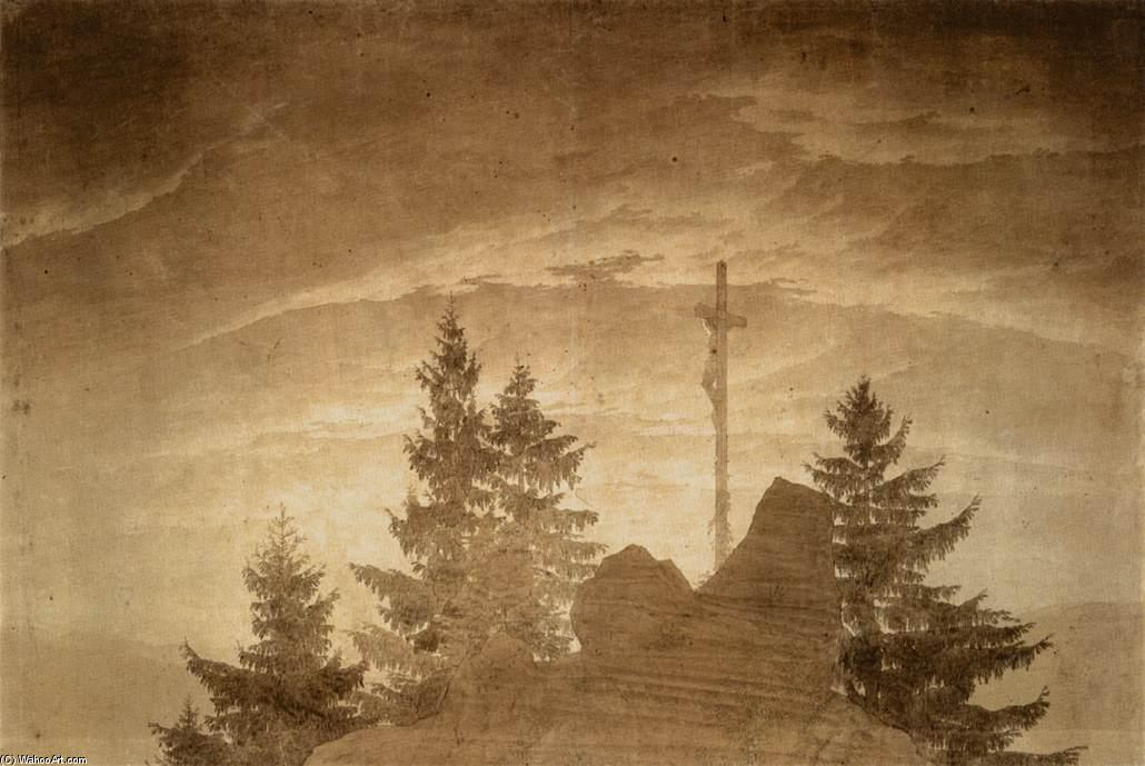 Cruz nas Montanhas, 1805 por Caspar David Friedrich (1774-1840, Germany) | Copy Pintura | WahooArt.com