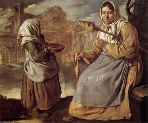 Giacomo Ceruti (Pitocchetto) - Pouco Beggar Girl and Spinning Mulher