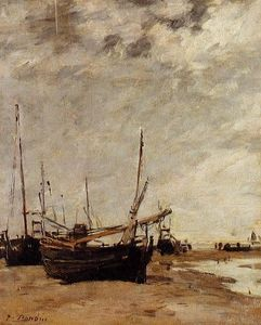 Eugène Louis Boudin - Low Tide Veleiros, Grounded