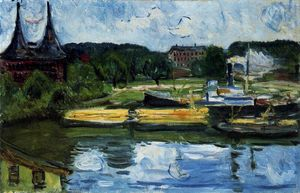Edvard Munch - Lübeck Harbour com o Holstentor