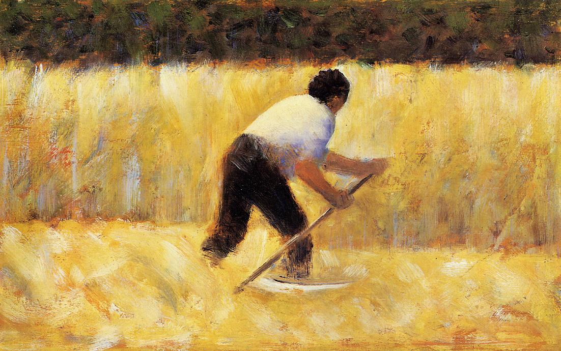 O Mower, Petróleo por Georges Pierre Seurat (1859-1891, France)