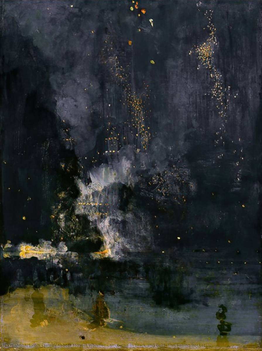 Nocturne in Black and Gold: The Rocket de queda, pintura por James Abbott Mcneill Whistler (1834-1903, United States)