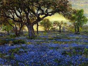 Robert Julian Onderdonk - old vivo carvalho e Bluebonnets no Oeste texas militares grounds , São Antonio