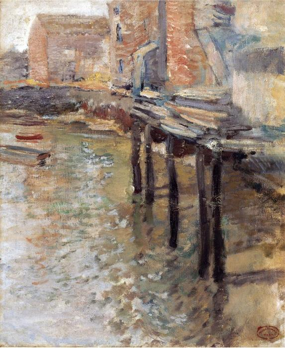The Old Mill em Cos Cob, 1900 por John Henry Twachtman (1853-1902, United States) | Copy Pintura | WahooArt.com