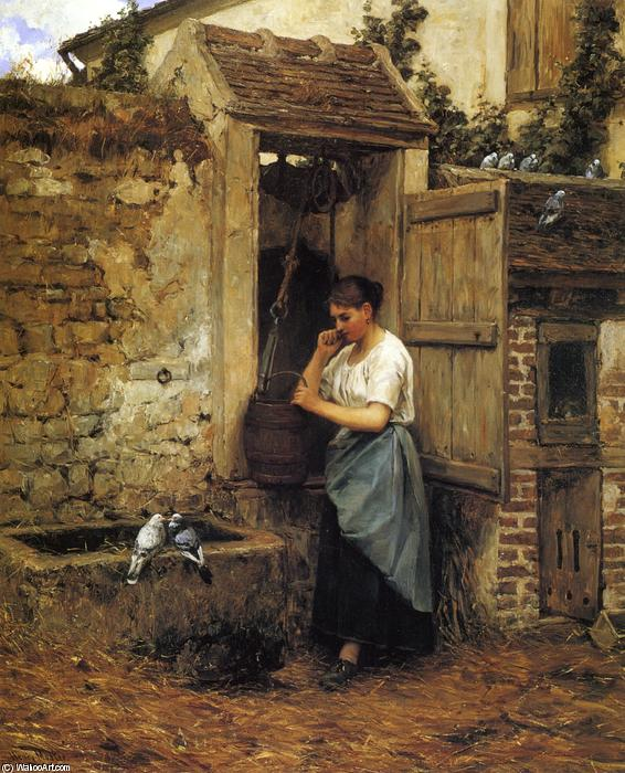 Girl and Doves Camponês, 1880 por Henry Mosler (1841-1920, Poland) | Copy Pintura | WahooArt.com