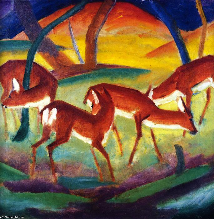 Red Deer I, óleo sobre tela por Franz Marc (1880-1916, Germany)