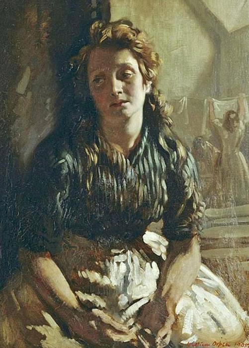 Descansando, óleo sobre a tela por William Newenham Montague Orpen (1878-1931, Ireland)