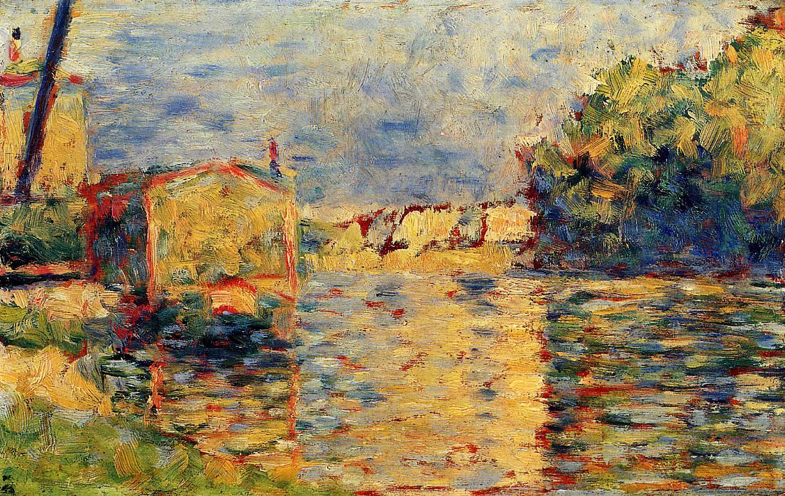 Borda do Rio, têmpera por Georges Pierre Seurat (1859-1891, France)