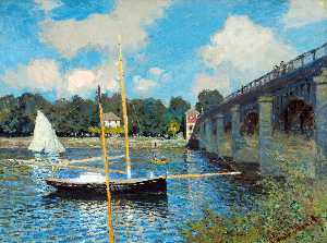 Claude Monet - O Bridge Road em Argenteuil