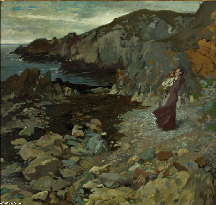 rochoso costa cena em howth, 1909 por William Newenham Montague Orpen (1878-1931, Ireland) | Copy Pintura | WahooArt.com