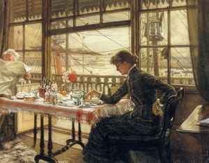 James Jacques Joseph Tissot - quarto com vista  o  contas de