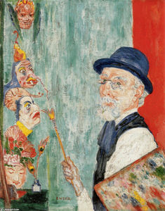 James Ensor - eu-portrait com  Máscaras