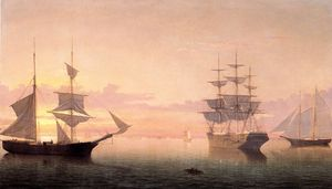 Fitz Hugh Lane - navios na  Nascer do sol